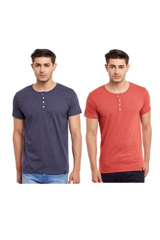 Pack of Two Solid Henley T-shirt Combo /CMT660003