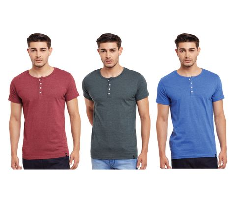 Pack of Three Solid Henley T-shirt Combo /CMT660007