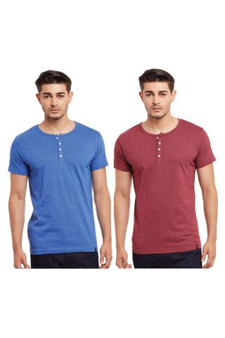 Pack of Two Solid Henley T-shirt Combo /CMT660005