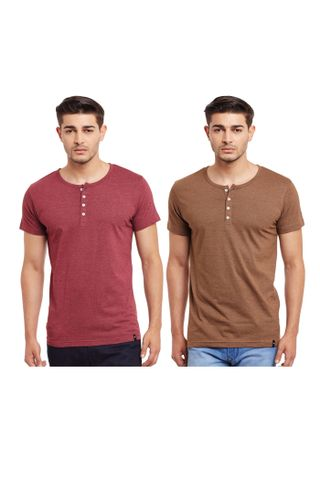 Pack of Two Solid Henley T-shirt Combo /CMT660002