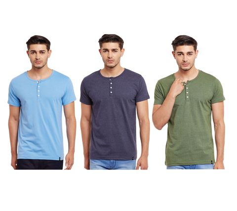 Pack of Three Solid Henley T-shirt Combo /CMT660008