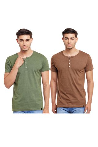 Pack of Two Solid Henley T-shirt Combo /CMT660006