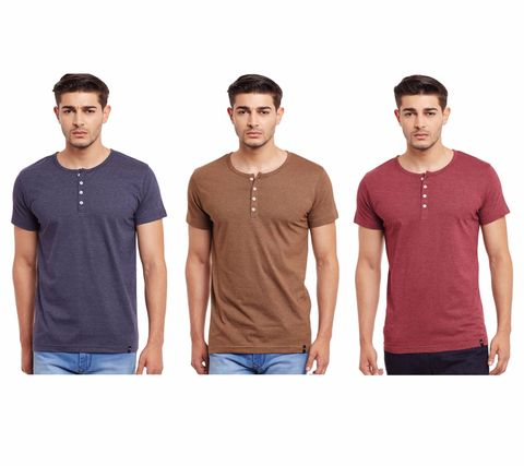 Pack of Three Solid Henley T-shirt Combo /CMT660010