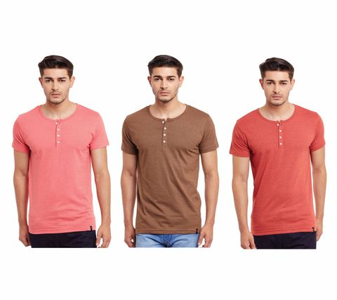 Pack of Three Solid Henley T-shirt Combo /CMT660009