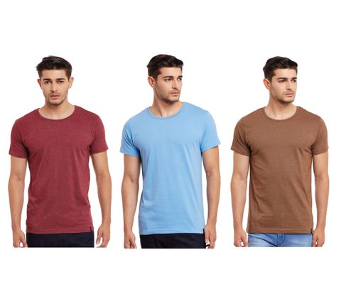 Pack of Three Solid Round Neck T-shirt Combo /CMT660019