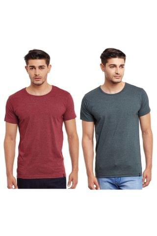Pack of Two Solid Round Neck T-shirt Combo /CMT660015