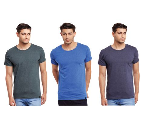Pack of Three Solid Round Neck T-shirt Combo /CMT660020