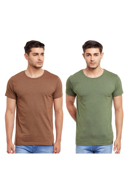 Pack of Two Solid Round Neck T-shirt Combo /CMT660016