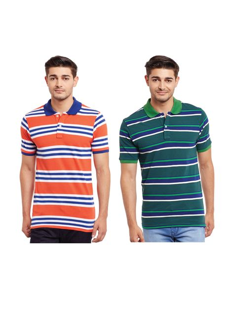 Pack of Two Multicolored Striped Polo T-shirt Combo /CMT660025
