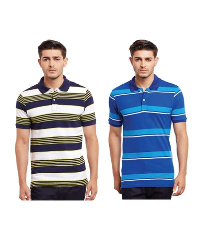 Pack of Two Multicolored Striped Polo T-shirt Combo /CMT660026