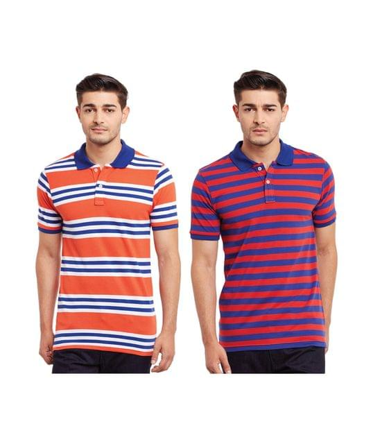 Pack of Two Multicolored Striped Polo T-shirt Combo /CMT660028