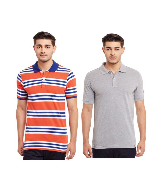 Pack of Two Solid And Striper Polo T-shirt Combo /CMT660029