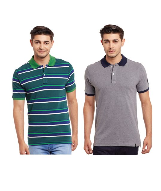 Pack of Two Solid And Striper Polo T-shirt Combo /CMT660031