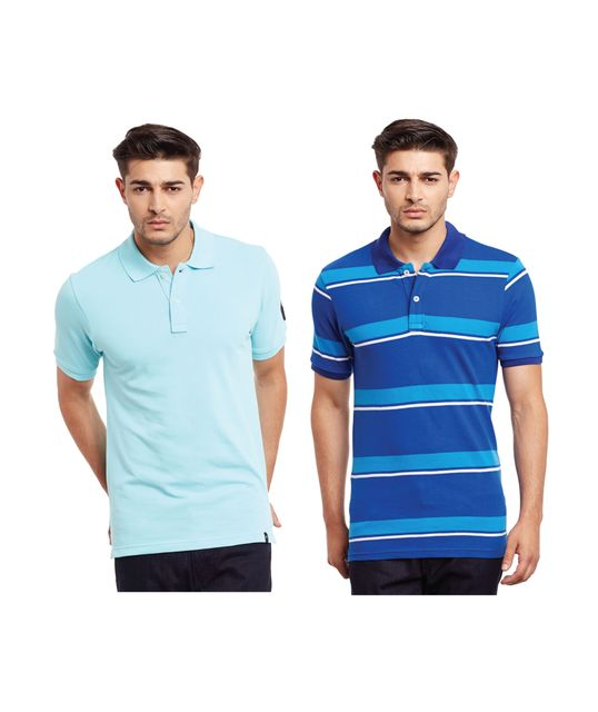Pack of Two Solid And Striper Polo T-shirt Combo /CMT660032