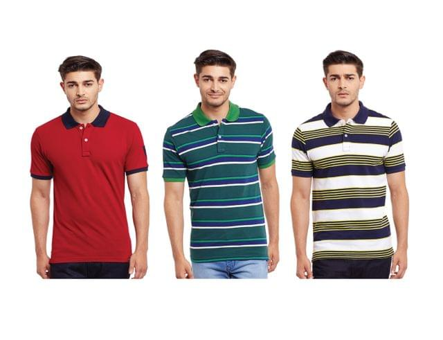 Pack of Three Solid & Striped Polo T-shirt Combo /CMT660033