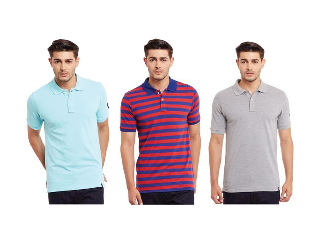 Pack of Three Solid & Striped Polo T-shirt Combo /CMT660034