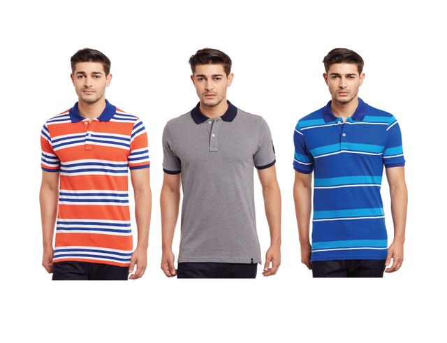 Pack of Three Solid & Striped Polo T-shirt Combo /CMT660035