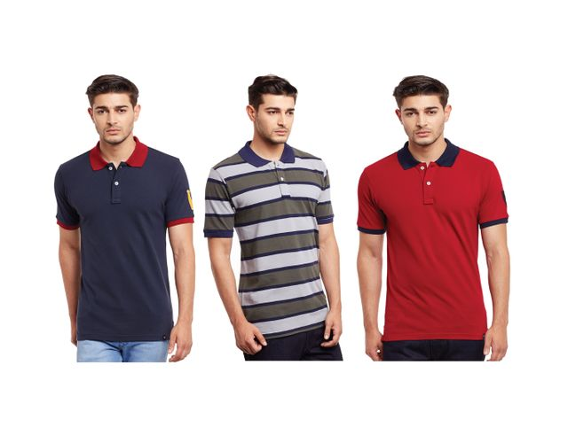 Pack of Three Solid & Striped Polo T-shirt Combo /CMT660036