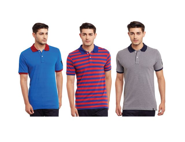 Pack of Three Solid & Striped Polo T-shirt Combo /CMT660038