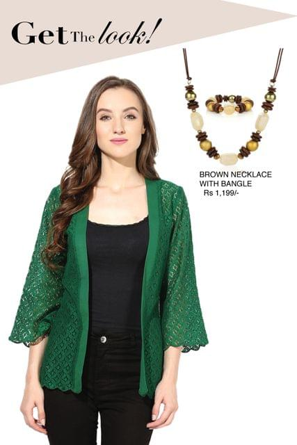 Light weight shrug in lace fabric green color/ STL450092