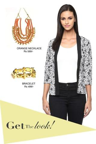 Front open light weight jacket in black print /STL450210