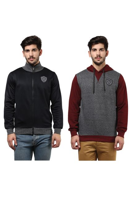 Pack of Two Solid Sweatshirts Combo With Front Patch/ CMW690007