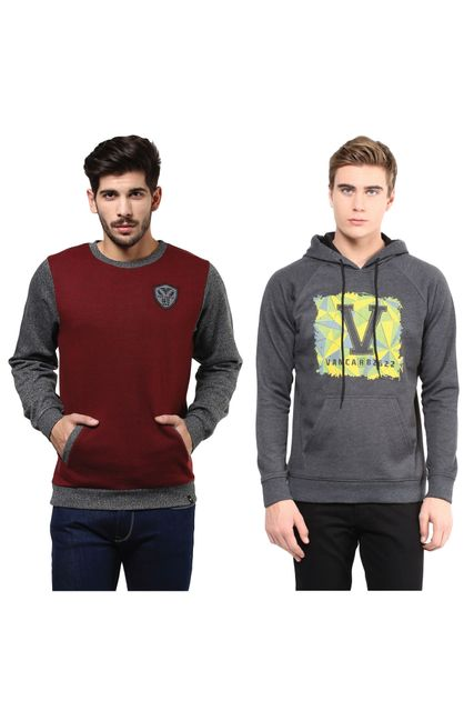Pack of Two Solid Sweatshirts Combo/CMW690008