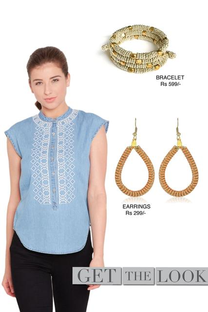 Round neck top in denim light blue wash with embroidery at front/ STL400730