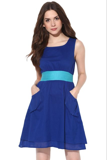 Round Neck Double Layer Dress In Blue Color /DRF500492