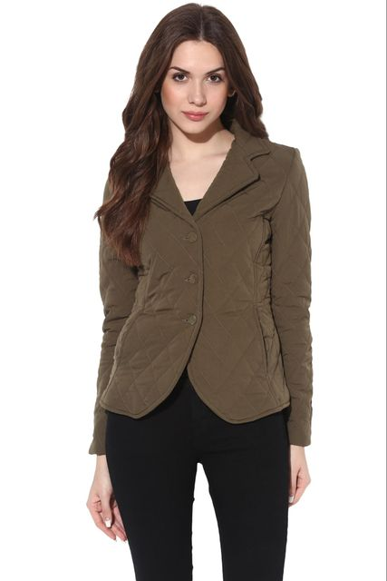Solid Olive Quilted Classic Jacket /JKF450215