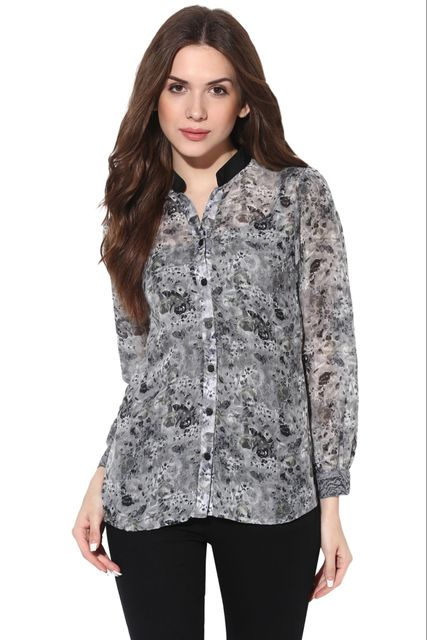 Front Button Down Shirt In Grey Print With Lace At Cuff /TSF400631