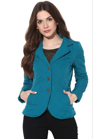 Solid Teal Quilted Classic Jacket /JKF450214