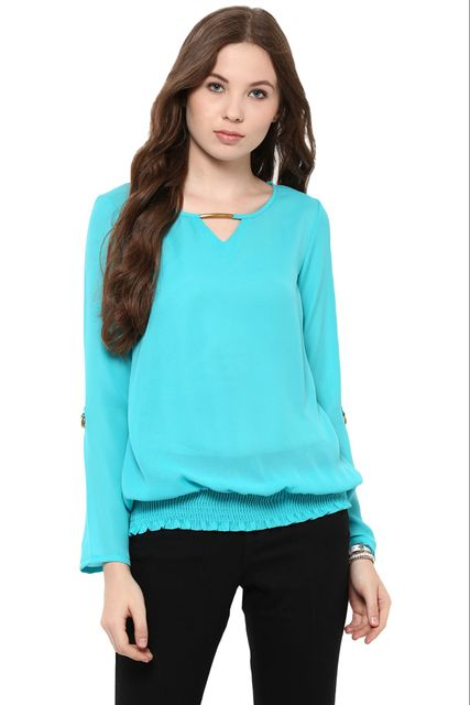 Solid Teal Color Top With Metal Detailing At Neckline And Elasticated Hem /TSF400852