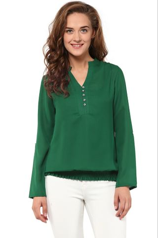 Solid Green Top With Half Placket At Front And Elasticated Hem /TSF400857