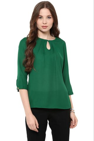 Solid Green Color Top With Front Pleat And Keyhole Detailing At Front /TSF400848