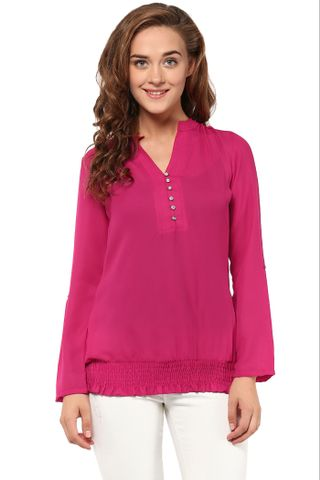Solid Fuchsia Top With Half Placket At Front And Elasticated Hem /TSF400858