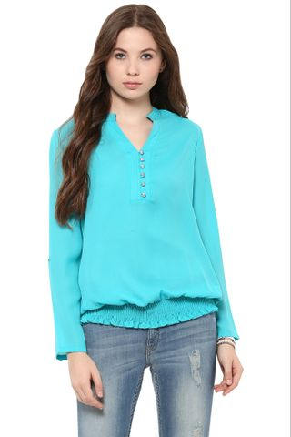 Solid Teal Top With Half Placket At Front And Elasticated Hem /TSF400859