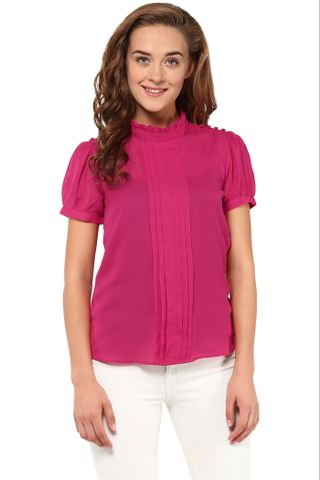 Solid Fuchsia Color Top With A Stand Collar And Pleat Detailing At Front /TSF400862