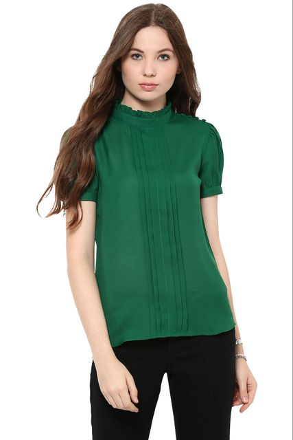 Solid Green Color Top With A Stand Collar And Pleat Detailing At Front /TSF400863