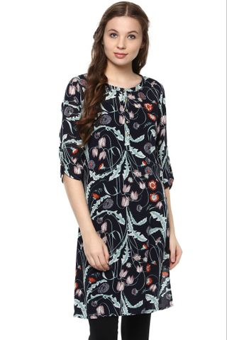 Navy Floral Printed Tunic With Front Buttons And Round Neck /DRF500659