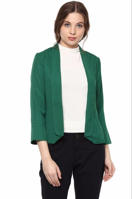 Solid Green Color Formal Jacket With Shawl Collar /JKF450220