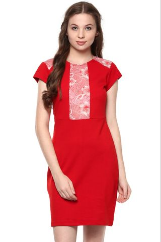 Solid Red Bodycon Dress With Floral Printed Panel At Front /DRF500669