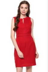 Solid Red Colour Dress With Thin Crochet Detailed Lines At Front And A Mandarin Collar /DRF500430