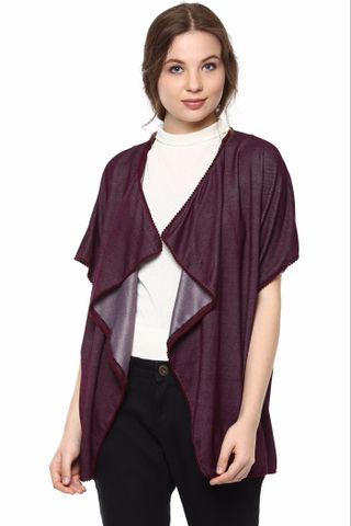 Kimono Jacket In Solid Marsala Color With Pompom Lace Detailing At Hemline /JKF450212