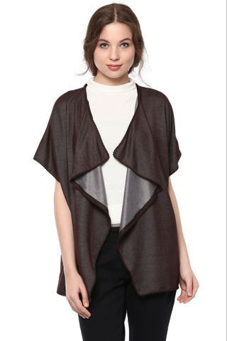 Kimono Jacket In Solid Brown Color With Pompom Lace Detailing At Hemline /JKF450211
