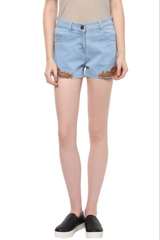 Light Wash Denim Shorts With Brown Lace Overlay At The Sides /SHF350156