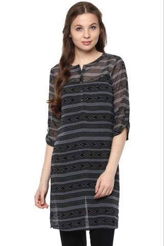 Grey Printed Tunic With Front Buttons And Round Neck /DRF500665