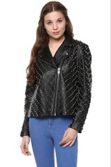 Black Leather Jacket With Metal Studs All Over And A Lapel Collar /JKF450236