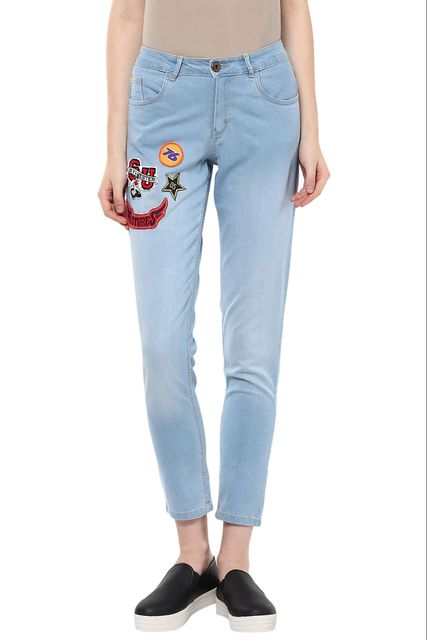 Light Wash Denim Detailed With Colourful Crests On Right /TRF350168