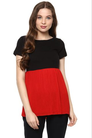 Red And Black Top With A Pleated Body And A Round Neck /TSF400826